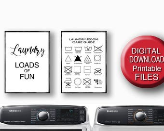 Printable Laundry Art Laundry Symbols Laundry Care Guide Loads of Fun Quote 5x7 8x10 11x14 16x20 A4 A3
