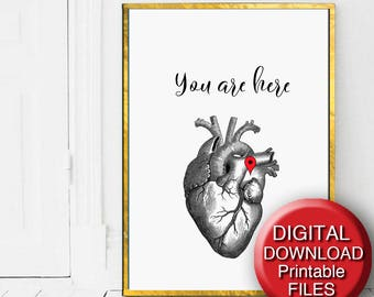 Printable Anatomical Heart Print Anniversary Gift You Are Here A4 5x7 16x20 24x36 A3