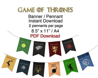 Printable Game of Thrones Banner (2 Pennants per page) Letter and A4 PDF Digital Download DIY Kit