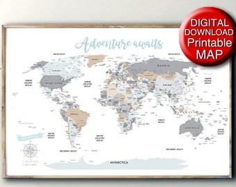 24x36 world map   Etsy