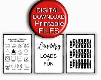 Printable Laundry Room Art Set of 3 Laundry Symbols Care Guide A4 8x10 16x20 5x7 11x14