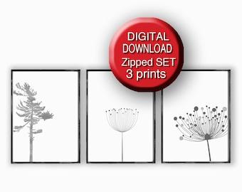 Printable, Silver Gray, Scandinavian Art, Set of 3 Prints, 5x7 8x10 11x14 16x20 24x36 A4 A3