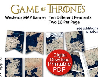Printable 32x48 game of thrones map art print poster 24x36 etsy printable game of thrones map banner 2 pennants per page letter size pdf gumiabroncs Image collections