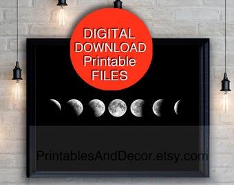 Printable Art, Moon Phases Wall Art, Eclipse, Moon Art, 5x7 8x10 11x14 16x20 24x36 A3 A4