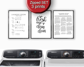 Printable Laundry Art - Care Symbols So Fresh and So Clean Stain Removal Guide A4 8x10 16x20