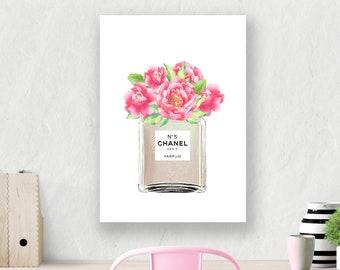 Printable Chanel with Peonies Print A4 5x7 8x10 11x14 16x20 24x36 30x40