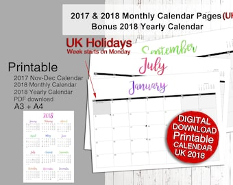UK Holidays, Printable 2018 Calendar, 2018 Calendar Planner 2018 Planner A4 and A3 Sizes