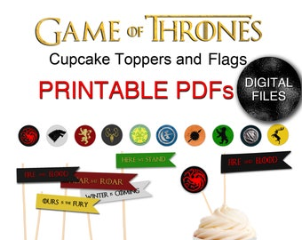Printable Game of Thrones Cupcake Flags and Toppers - Party Printable DIY Kit