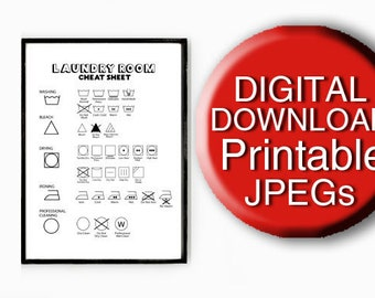 Printable Laundry Symbols, Laundry Care Guide, Laundry Print, A4 8x10 5x7 11x14 16x20 A3