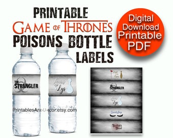 Printable Game of Thrones Poison Bottle Labels / Bottle Wrappers PDF