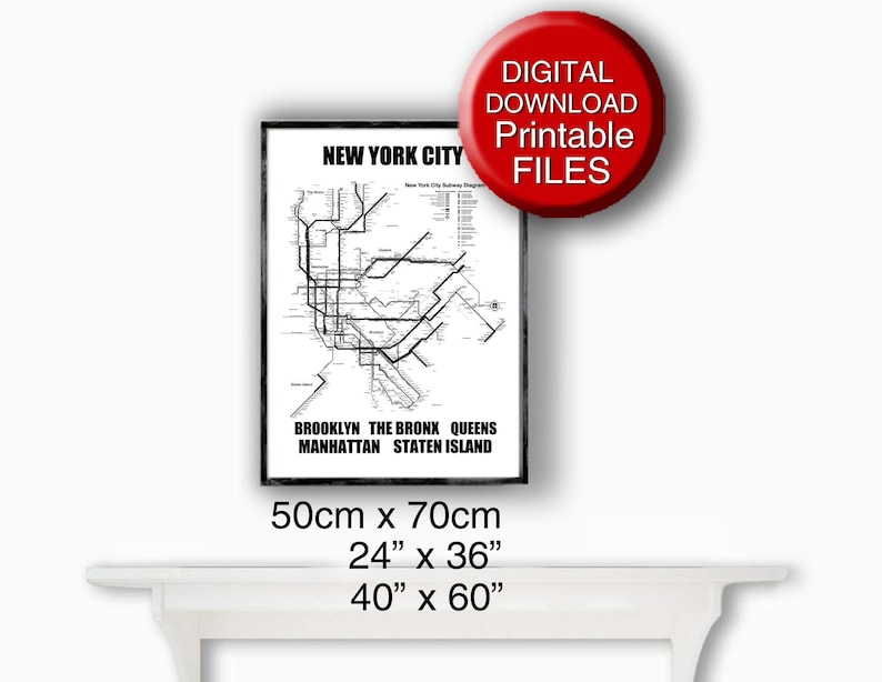 Download New York Subway Map.New York Subway Map Printable Art 50x70 Poster New York City Subway Map Travel Gift