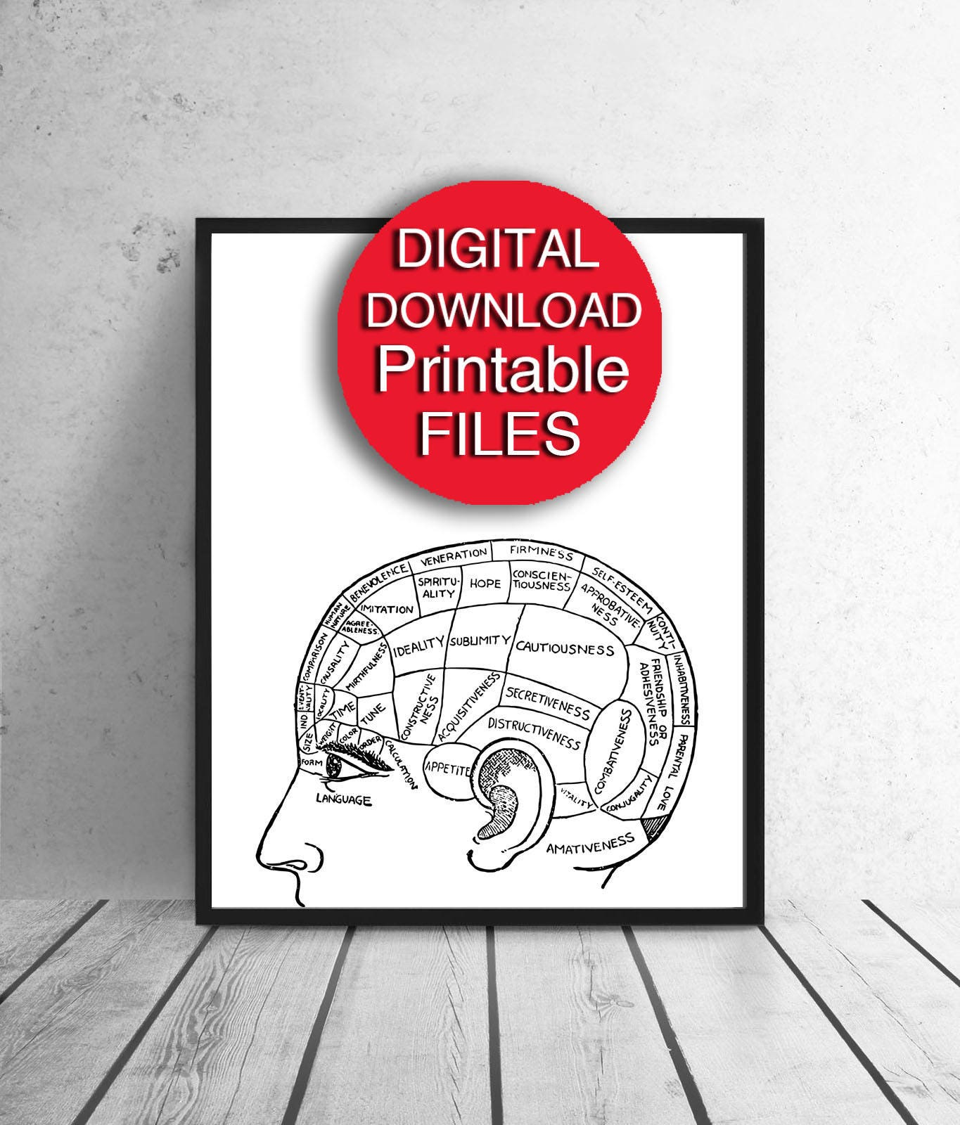 image relating to Brain Hat Printable called Phrenology Chart, Printable, Thoughts Print, Retro, 50x70 Printable Geek Present, 5x7 8x10 11x14 16x20 24x36 A3 A4