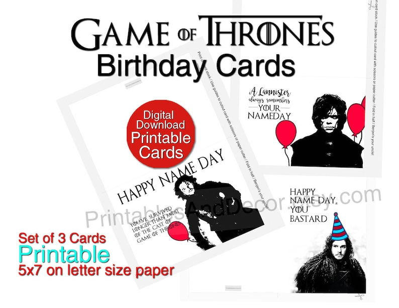 Printable Game Of Thrones Birthday Card Set 3 Funny Cards