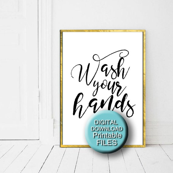 picture relating to Printable Bathroom Rules known as Clean Your Arms, Printable Toilet Artwork, Lavatory Pointers Print, Powder Area Artwork, 5x7 8x10 11x14 16x20 A3 A4
