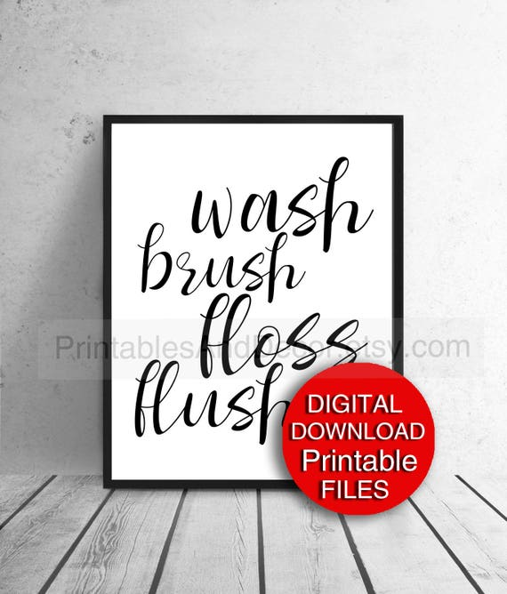 photo relating to Printable Bathroom Rules called Printable Clean Brush Floss Flush Lavatory Legal guidelines Indicator Poster Print A4 5x7 11x14 8x10 A3 16x20