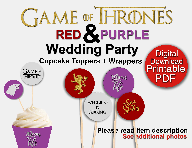 Printable Game of Thrones Wedding Party DIY Kit Cupcake | Etsy