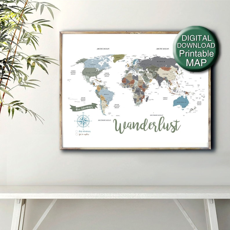 Printable World Map Neutral World Map World Map City Detail | Etsy
