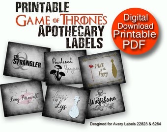 Printable Game of Thrones Poisons Apothecary Labels Printable Decor 2 Sizes