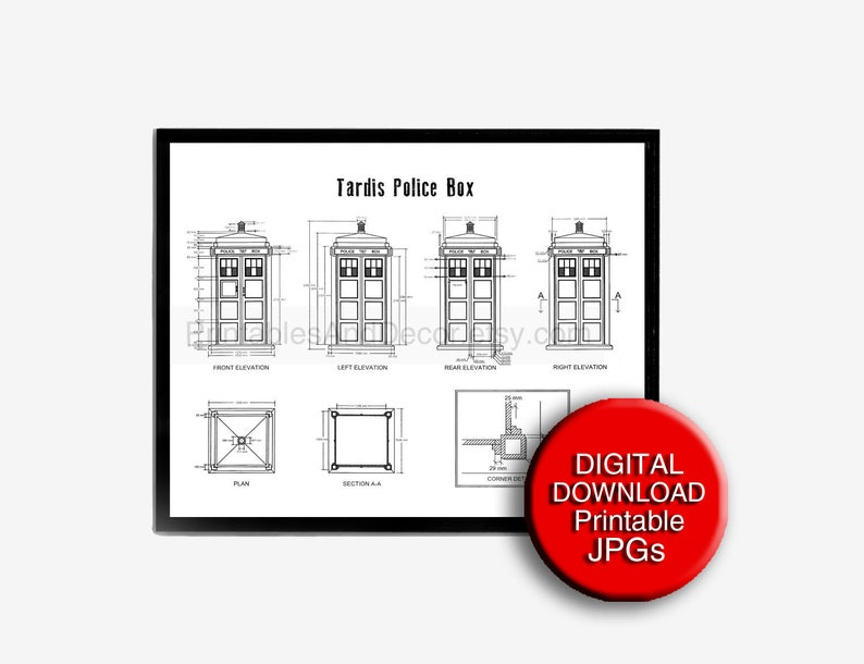 graphic about Tardis Printable titled Dr Who TARDIS Patent Printable Blueprint Drawing A4 8x10 24x36 16x20 A3 11x14 Dorm Space