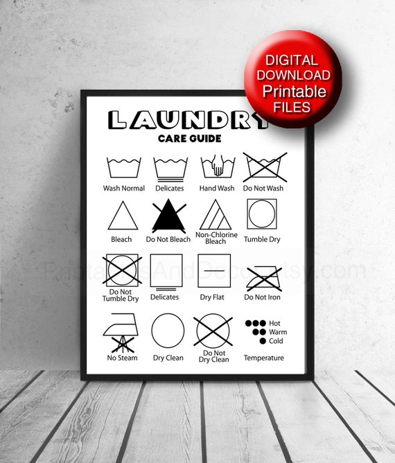 Printable Laundry Symbols Cheat Sheet Care Guide Printable Etsy