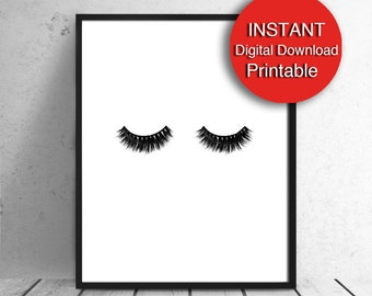 Digital Eyelashes Print, Fashion Wall Art, Sleeping Eyes, 5x7 8x10 11x14 16x20 24x36 30x40 A4 A3