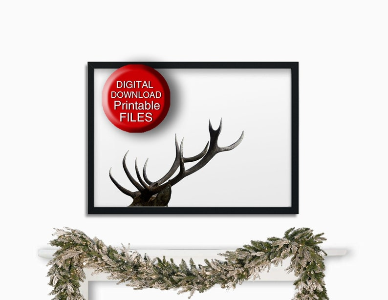 photo regarding Printable Deer Antlers named Deer Antlers, Printable Farmhouse Decor, Rustic Antlers Print 8x10 11x14 A4 16x20 50x70