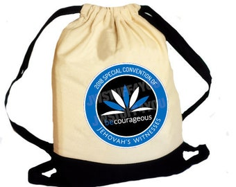 Be Courageous Special Convention 2018 Drawstring Canvas Backpack Convention Bag Convention Tote Regional Convention JW Convention 2018 Pin