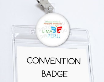 Lima Peru Special Convention Name Card Holder Peru Special Convention Badge Holder Convention pins Be Courageous Convention Gifts JW Buttons
