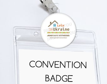 Ukraine Special Convention Name Badge Holder Lviv Ukraine Special Convention Be Courageous Badge Card Holder Convention button pins JW Gifts