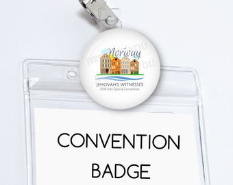 Norway Convention Badge Holder Oslo Norway Special Convention Name Card Holder Convention buttons JW pins Be Courageous Convention Gifts