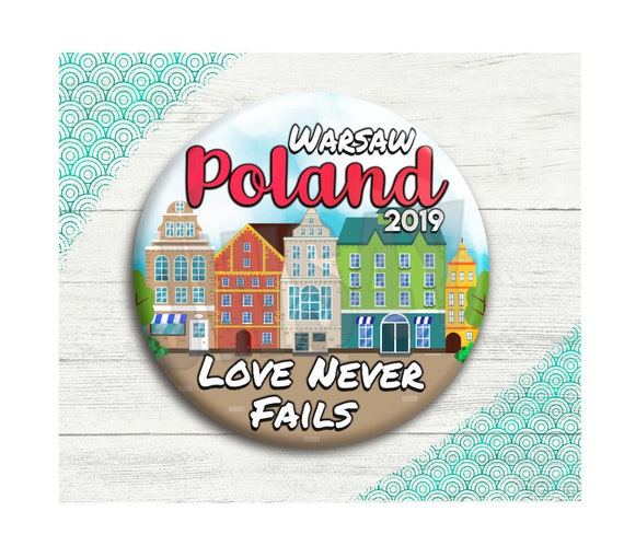 Love Never Fails JW Gifts | Warsaw Poland International Convention Pin  Buttons | Jehovah's Witness Convention Gift Ideas | Poland Badge Pins