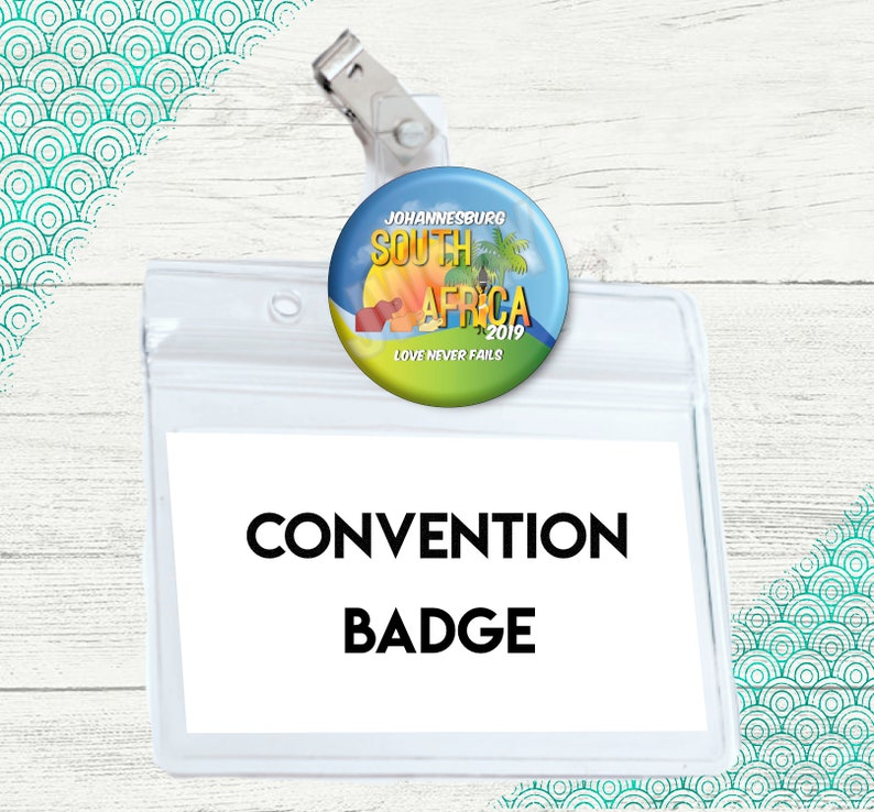 JW Love Never Fails | International Convention Gift | Badge Holder |  Johannesburg South Africa Buttons Pin | 2019 JW Convention Card Holder