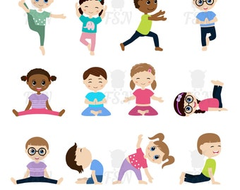 Kids Doing Yoga In Different Positions Digital Clipart Children Vector Childhood Clip Art
