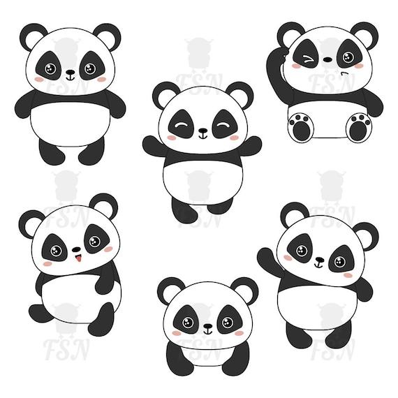 Panda Clipart Clip Art Et Ensemble De Papier Numérique Kawaii Panda Clipart Ensemble De Dessin Animé Mignon Ours De Panda Chinois