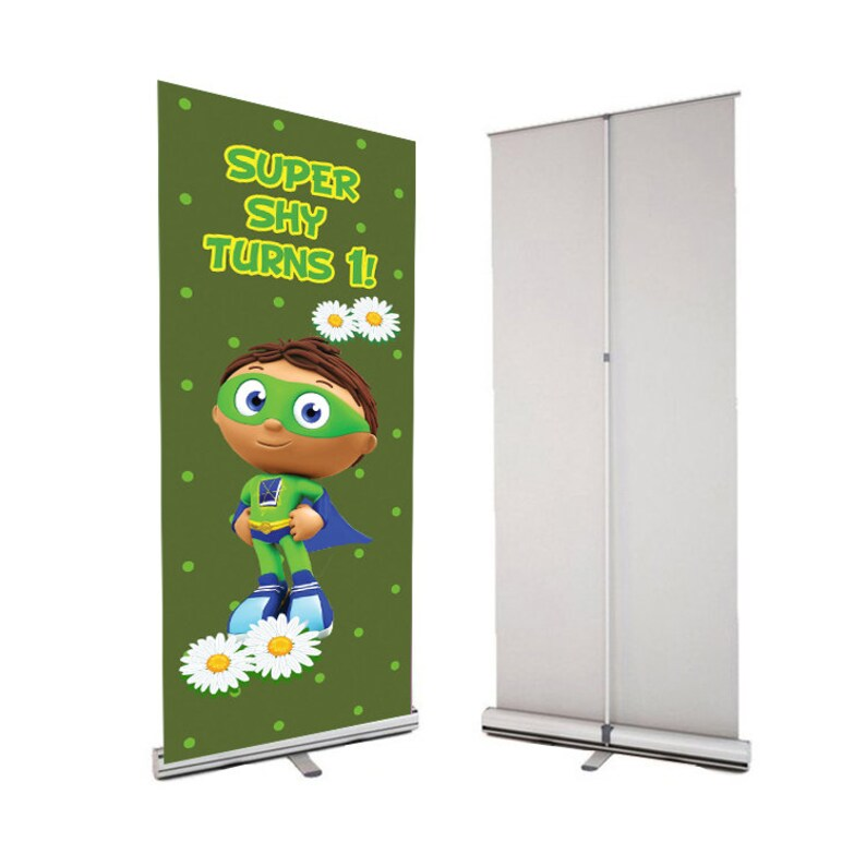 Super Why Pop up Banner Custom Birthday Sign Birthday Party Sign 33 x 81 inches Princess Pea Super Why Retractable Party Banner /& Stand