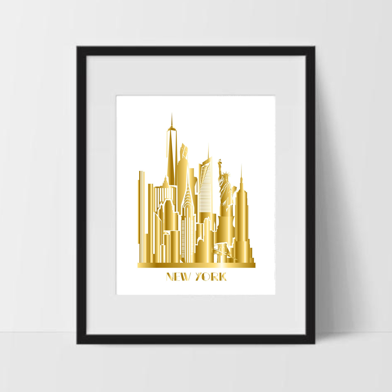 New York Skyline Gold Art Print NYC Drawing Printable NYC | Etsy