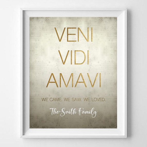Custom Family Latin Quotes Printable Veni Vidi Amavi We Came Etsy Enchanting Latin Quotes