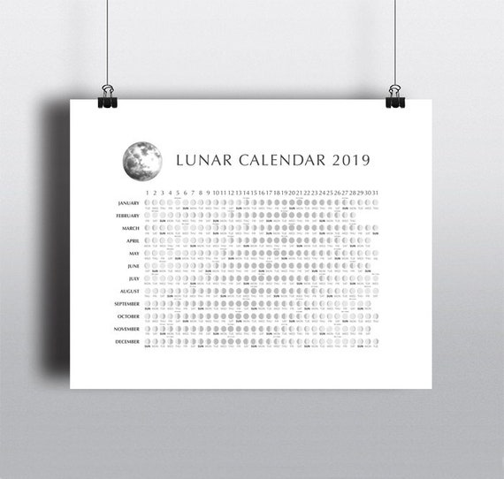 2019 Lunar Moon Phases Calendar Moon Phases Chart Yearly Etsy