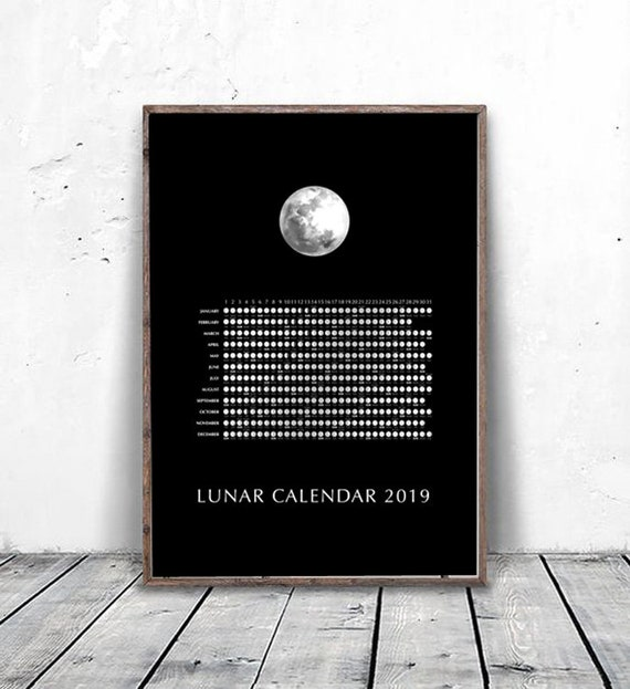 2019 Lunar Moon Calendar 2019 Moon Phases Chart Yearly Wall Etsy