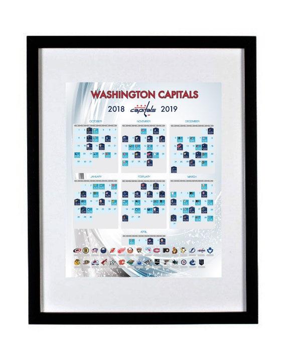Washington Capitals 2018-2019 Season Schedule NHL poster  88ab1fa94ae