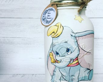 Hand decorated mason jar, ideal for birthdays, christenings and new baby gift. Dumbo, handmade, personalised gift.