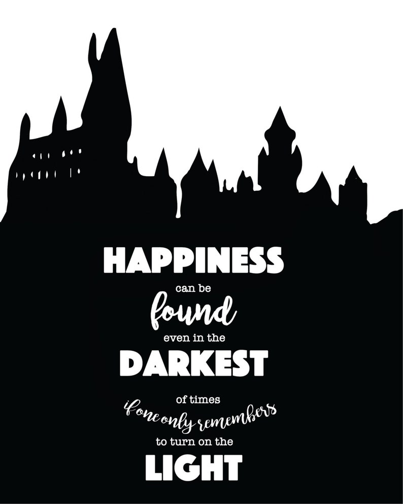 graphic about Printable Harry Potter Quotes named Harry Potter Printable - Harry Potter Estimate - Instantaneous Obtain - Pleasure can be discovered even within the darkest of instances if one particular merely remembers