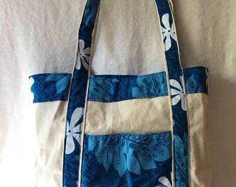 Blue and Beige Hawaiian Tote