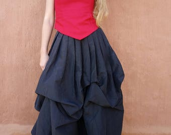 puffed long black skirt is romantic, elven, medieval, steampunk, Gothic style Cape Diem