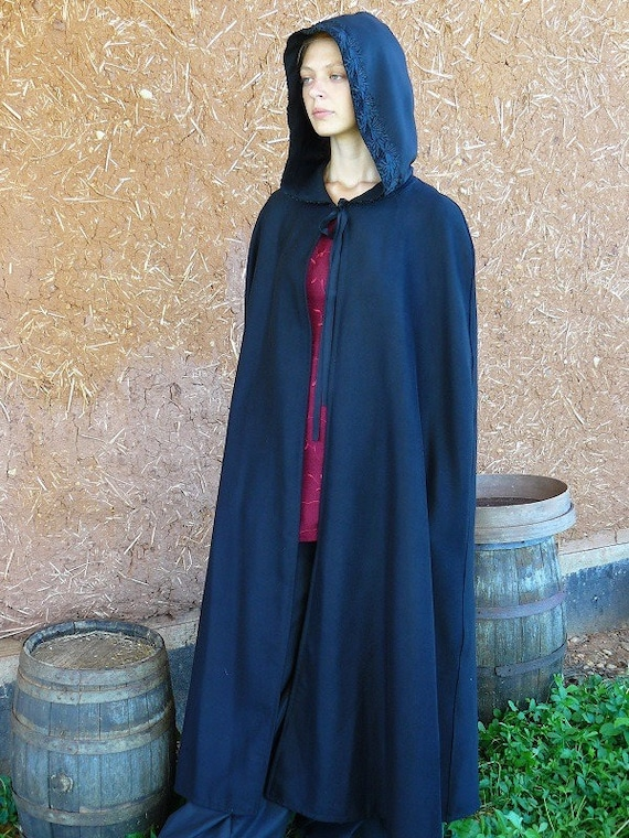 Cape long black lined hood with lace or braid style medieval fairy Cape Diem
