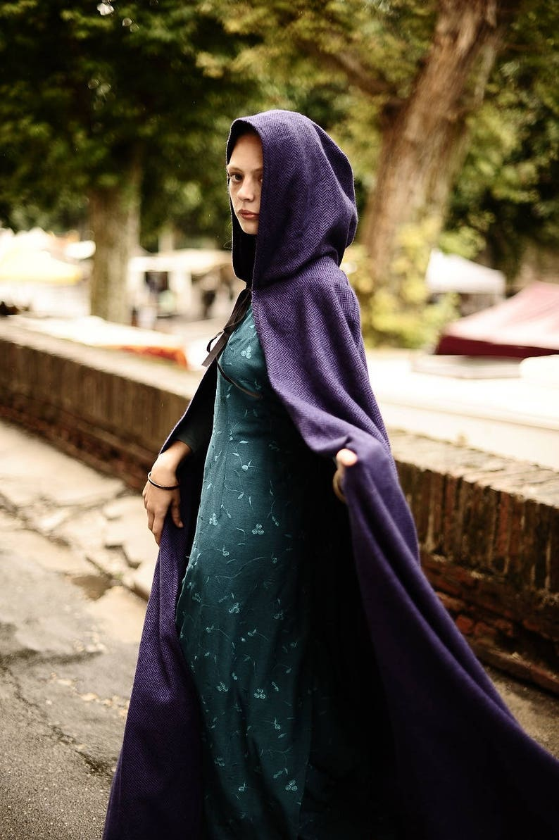 Long Cape with or without braid around the large hood  Medieval, elven  fairy steampunk Cape Diem