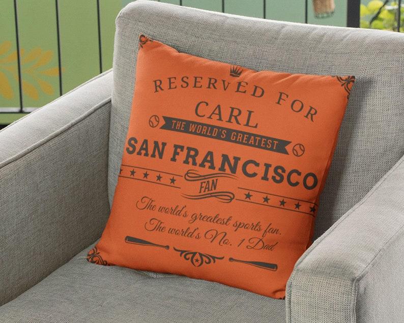 San Francisco Baseball Fan Fan Gift Customizable Personalized Gift Decorative Sports Pillow