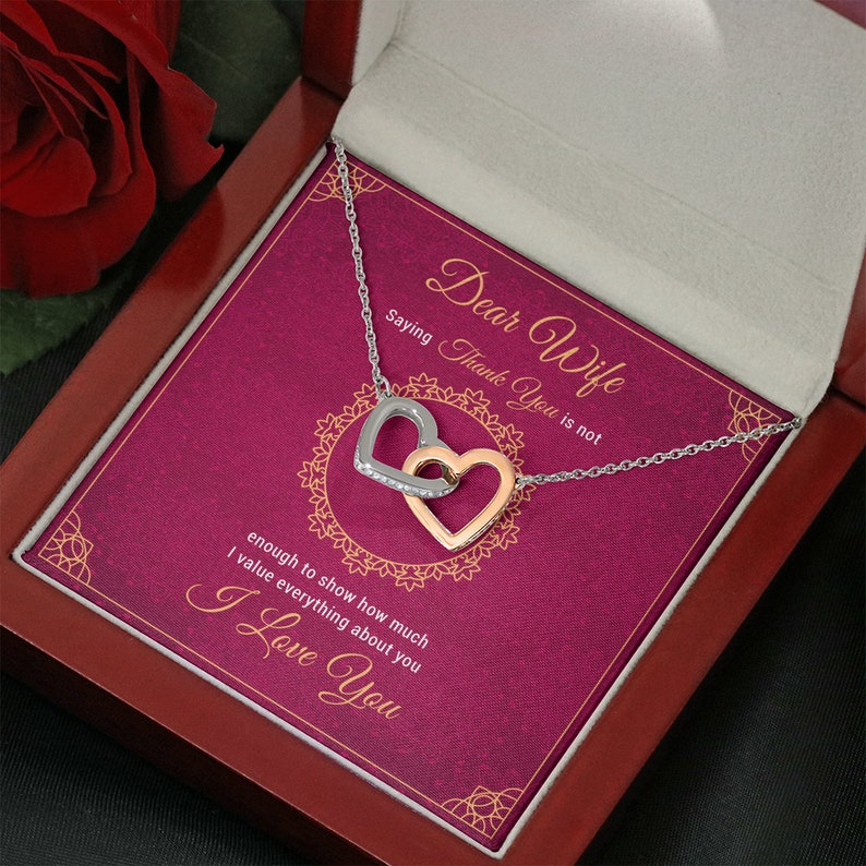 To My Wife Thank You Is Not Enough To Show How Much I Value Everything About You Greeting Card with Necklace