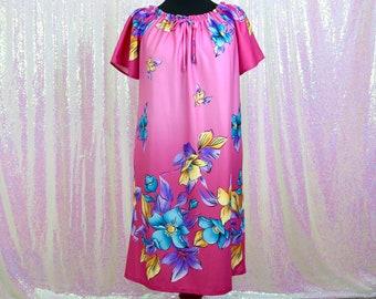 e52ee55bc6582 Vintage 1960s Granada Pink and Multicolor Polyester Adjustable Off-Shoulder  Short Sleeve Drawstring MuuMuu Nightgown Dress