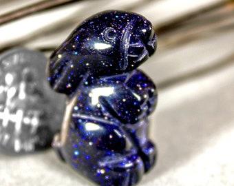 Blue Goldstone Bunny Rabbit Totem Spirit Animal Fetish Stone Figurine 8670